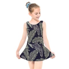 Jungle Leaves Tropical Pattern Kids  Skater Dress Swimsuit