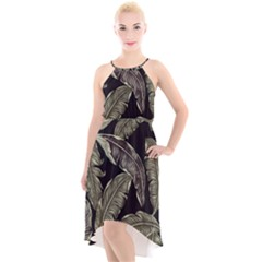 Jungle Leaves Tropical Pattern High Low Halter Chiffon Dress