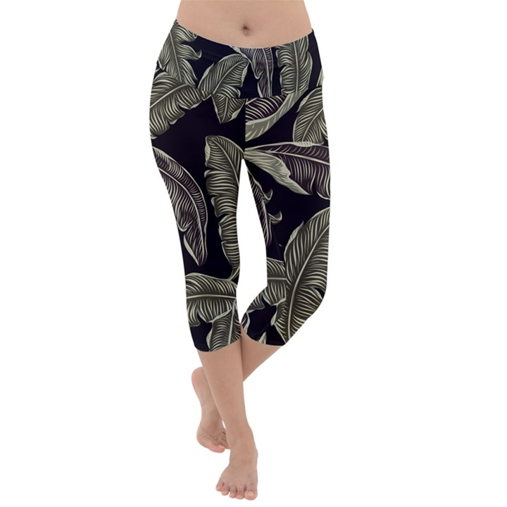 Jungle Leaves Tropical Pattern Lightweight Velour Capri Yoga Leggings