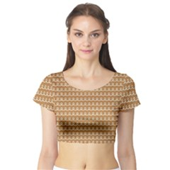 Gingerbread Christmas Short Sleeve Crop Top