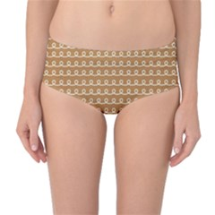 Gingerbread Christmas Mid-Waist Bikini Bottoms
