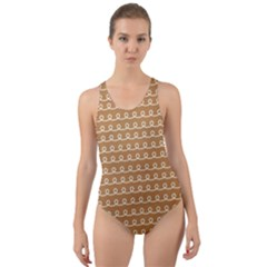 Gingerbread Christmas Cut-Out Back One Piece Swimsuit