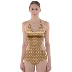 Gingerbread Christmas Cut-Out One Piece Swimsuit