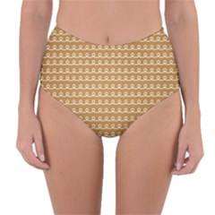 Gingerbread Christmas Reversible High-Waist Bikini Bottoms