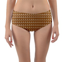 Gingerbread Christmas Reversible Mid-Waist Bikini Bottoms