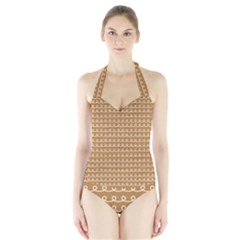 Gingerbread Christmas Halter Swimsuit