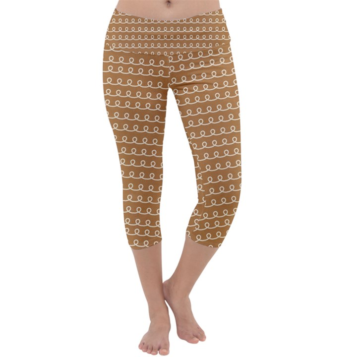 Gingerbread Christmas Capri Yoga Leggings