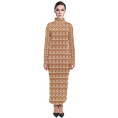 Gingerbread Christmas Turtleneck Maxi Dress
