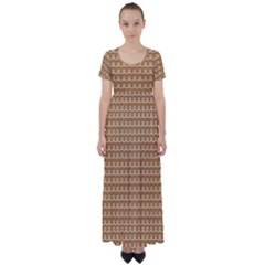 Gingerbread Christmas High Waist Short Sleeve Maxi Dress
