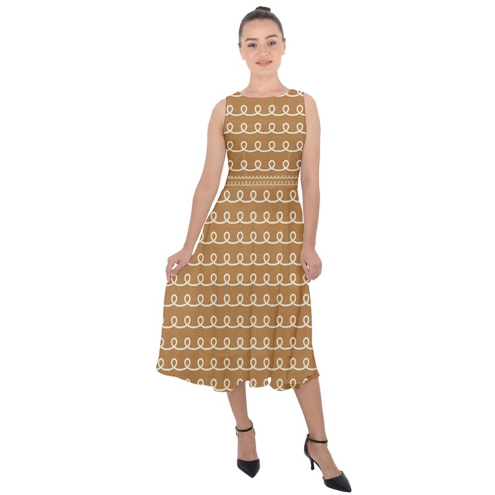 Gingerbread Christmas Midi Tie-Back Chiffon Dress