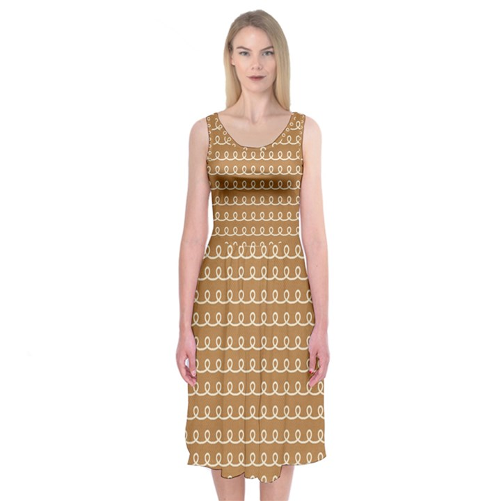 Gingerbread Christmas Midi Sleeveless Dress