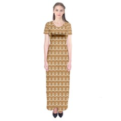 Gingerbread Christmas Short Sleeve Maxi Dress