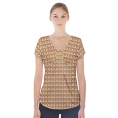 Gingerbread Christmas Short Sleeve Front Detail Top