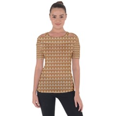 Gingerbread Christmas Shoulder Cut Out Short Sleeve Top