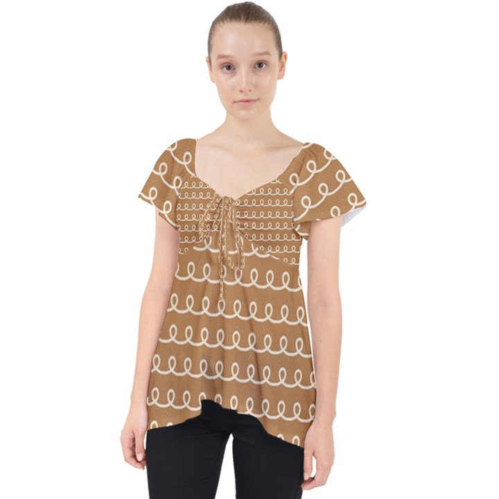 Gingerbread Christmas Lace Front Dolly Top