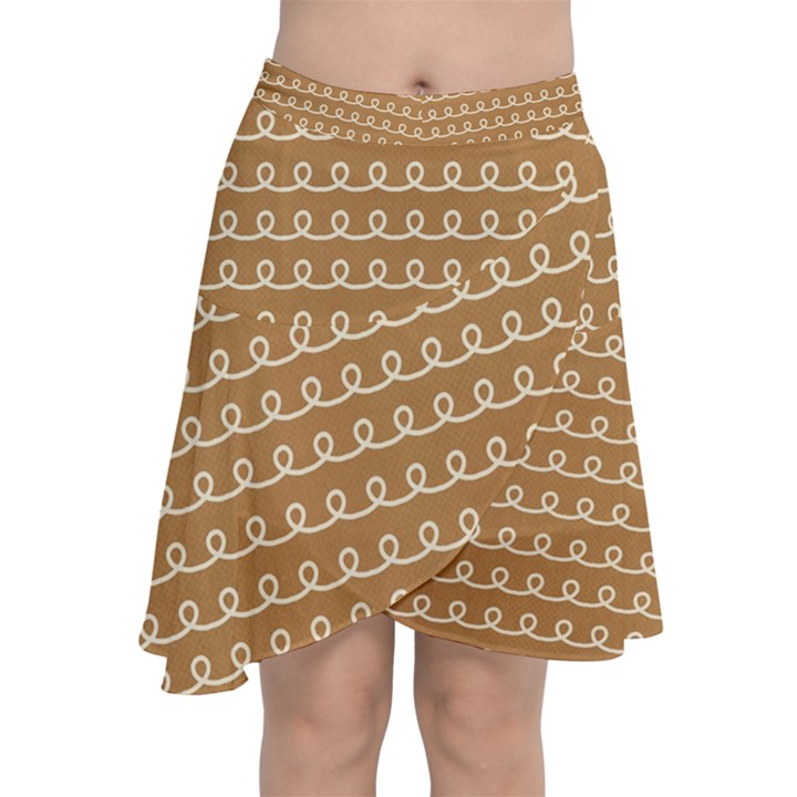 Gingerbread Christmas Chiffon Wrap Front Skirt