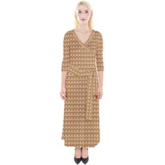 Gingerbread Christmas Quarter Sleeve Wrap Maxi Dress