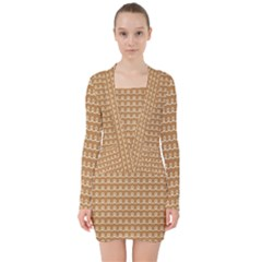 Gingerbread Christmas V Neck Bodycon Long Sleeve Dress