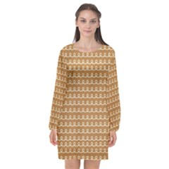Gingerbread Christmas Long Sleeve Chiffon Shift Dress
