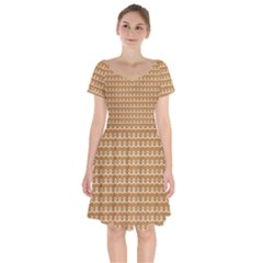Gingerbread Christmas Short Sleeve Bardot Dress