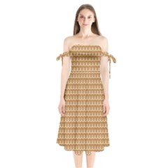 Gingerbread Christmas Shoulder Tie Bardot Midi Dress