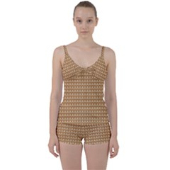 Gingerbread Christmas Tie Front Two Piece Tankini