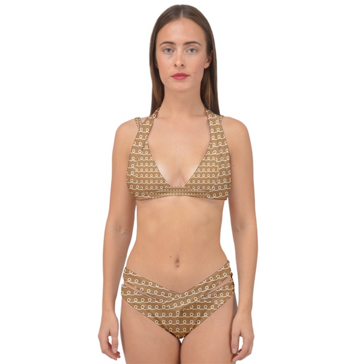 Gingerbread Christmas Double Strap Halter Bikini Set