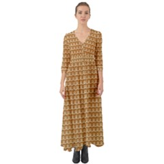 Gingerbread Christmas Button Up Boho Maxi Dress