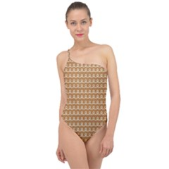 Gingerbread Christmas Classic One Shoulder Swimsuit