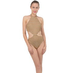 Gingerbread Christmas Halter Side Cut Swimsuit