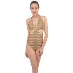 Gingerbread Christmas Halter Front Plunge Swimsuit