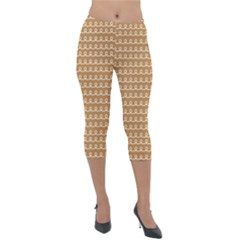 Gingerbread Christmas Lightweight Velour Capri Leggings