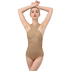 Gingerbread Christmas Cross Front Low Back Swimsuit