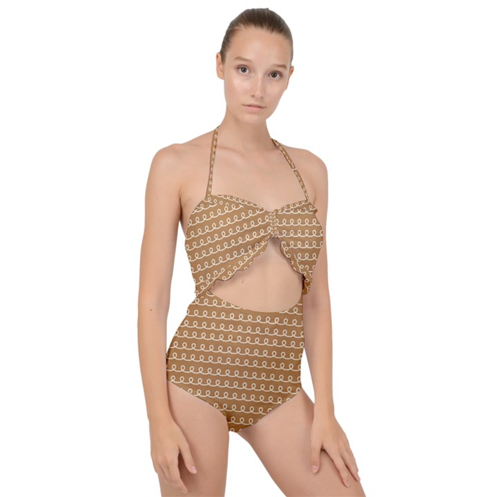 Gingerbread Christmas Scallop Top Cut Out Swimsuit