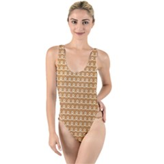 Gingerbread Christmas High Leg Strappy Swimsuit