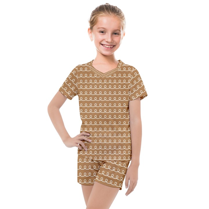 Gingerbread Christmas Kids  Mesh Tee and Shorts Set