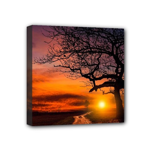 Lonely Tree Sunset Wallpaper Mini Canvas 4  x 4  (Stretched)