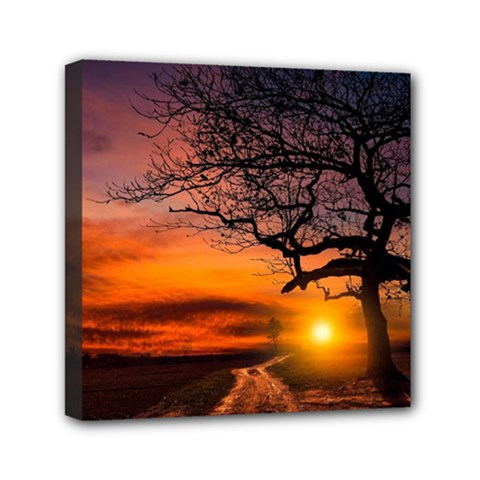 Lonely Tree Sunset Wallpaper Mini Canvas 6  x 6  (Stretched)