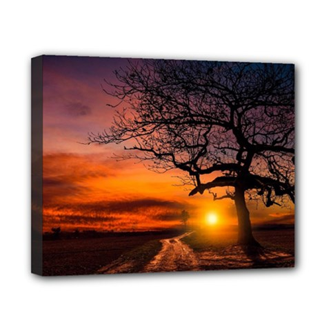 Lonely Tree Sunset Wallpaper Canvas 10  x 8  (Stretched)
