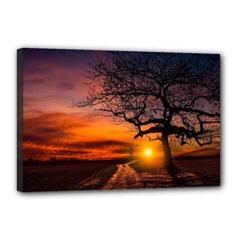 Lonely Tree Sunset Wallpaper Canvas 18  X 12  (stretched)