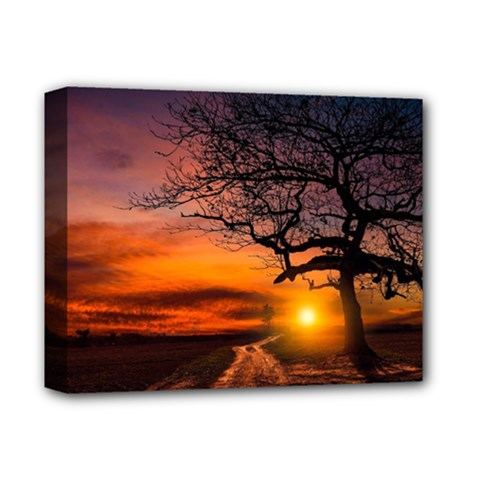 Lonely Tree Sunset Wallpaper Deluxe Canvas 14  x 11  (Stretched)