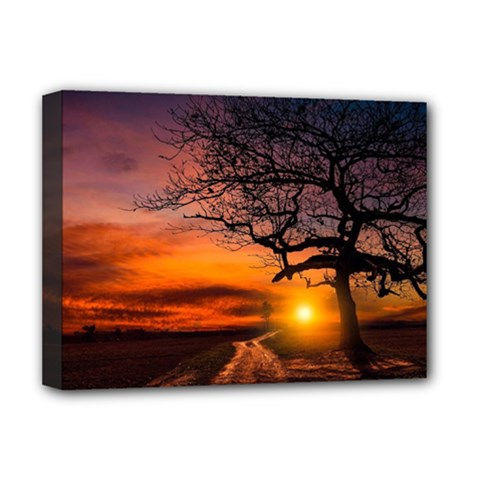Lonely Tree Sunset Wallpaper Deluxe Canvas 16  x 12  (Stretched)