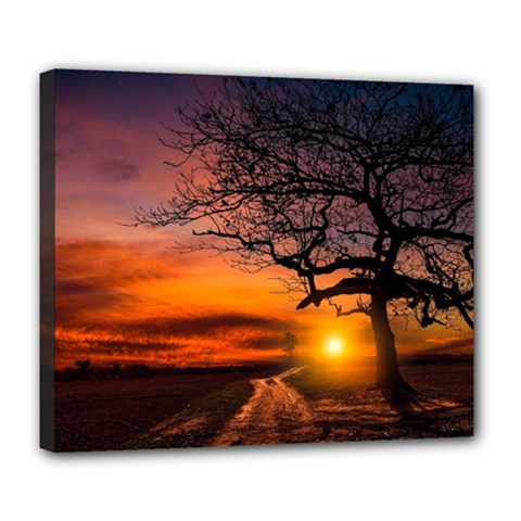 Lonely Tree Sunset Wallpaper Deluxe Canvas 24  x 20  (Stretched)