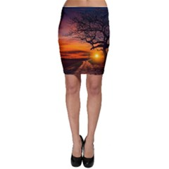 Lonely Tree Sunset Wallpaper Bodycon Skirt