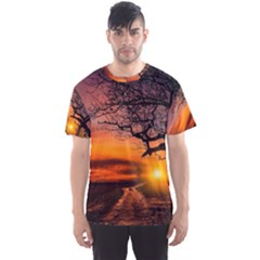 Lonely Tree Sunset Wallpaper Men s Sports Mesh Tee