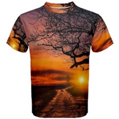 Lonely Tree Sunset Wallpaper Men s Cotton Tee