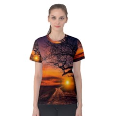Lonely Tree Sunset Wallpaper Women s Cotton Tee