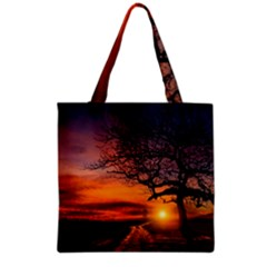Lonely Tree Sunset Wallpaper Grocery Tote Bag