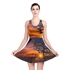 Lonely Tree Sunset Wallpaper Reversible Skater Dress
