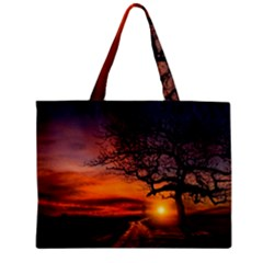 Lonely Tree Sunset Wallpaper Mini Tote Bag